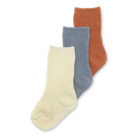 Konges Slojd 3 pack rib socks //Bisquit Quarry Blue Lemon Sorbet