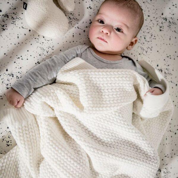 Gebreide Baby Wieg deken  Off White 80x100cm