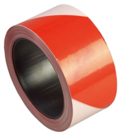 BARRICADE TAPE FLUO ROOD OF GEEL 50MM