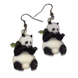 Oorbellen Panda met bamboe
