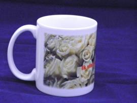 Witte rozen - drinkmok