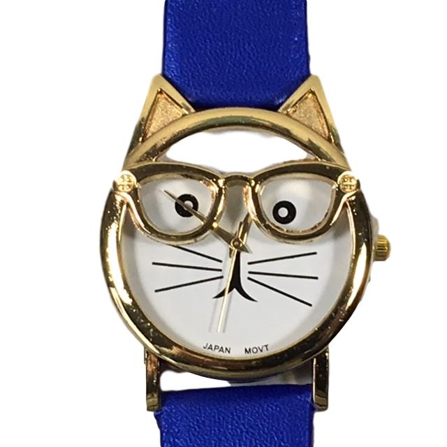 Horloge kat met goudkleurige bril