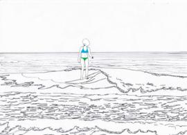 Ansichtkaart surfergirl pentekening  A6