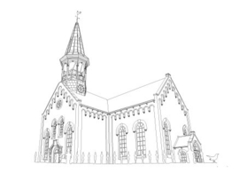 Ansichtkaart kerk Midsland pentekening A6