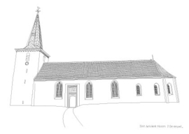 Ansichtkaart kerk Hoorn pentekening A6