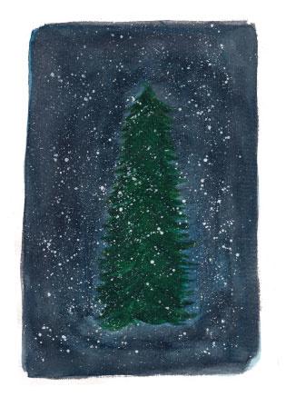 Ansichtkaart kerstboom A6