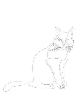 Ansichtkaart kat in 1 lijn pentekening  A6