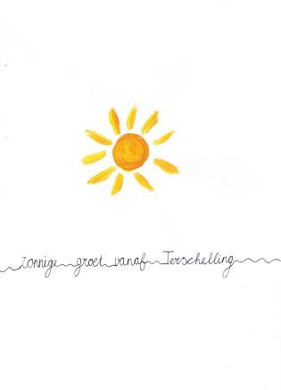Ansichtkaart zonnige groet vanaf Terschelling A6