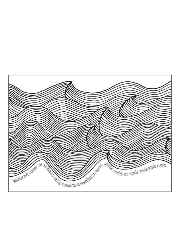Ansichtkaart golven A6