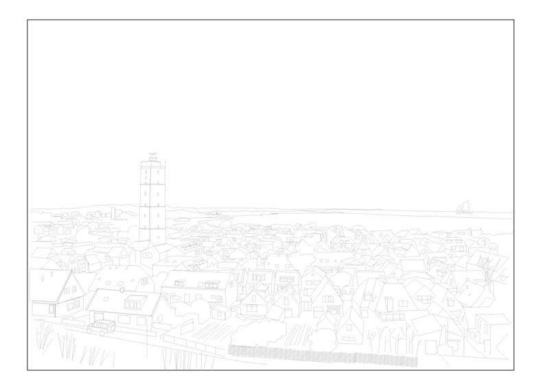 Ansichtkaart West-Terschelling pentekening  A6