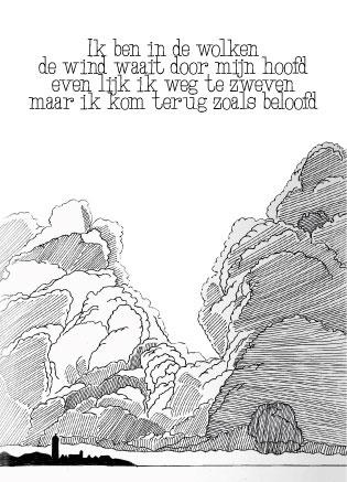 Ansichtkaart in de wolken A6