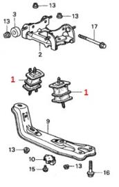 Versnellingsbak rubber ophanging steunen