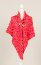Superzachte omslagdoek in roze met extra kleurtjes  (OD-03)