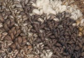 Beanie - wolwit, bruin- en grijsnuances (B-123)