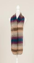 Lange sjaal in grijs, paars, beige, blauw, bruin (S-01)