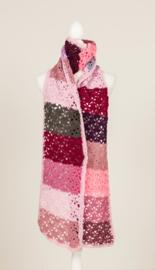 Lange sjaal in m.n. roze tinten (S-04)
