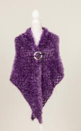 Omslagdoek  met 'bont-uitstraling' in volle paarse kleur (OD-04)