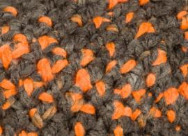 Beanie - donkergrijs met oranje accentjes (B-127)