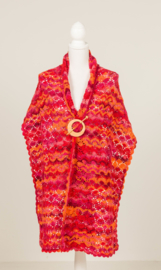 Lange brede sjaal / omslagdoek in roze,- rood- en oranjetinten (S-02)