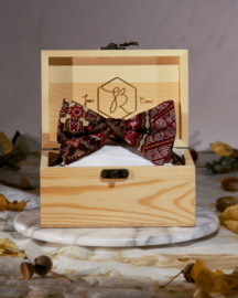 Bow Tie Gold Red Brown Batik