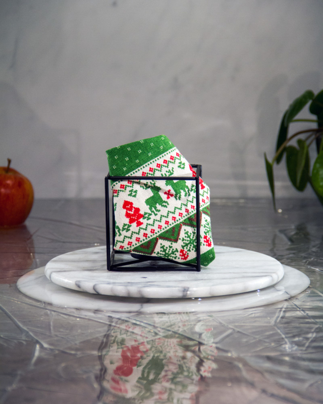 Christmas Reindeer Green Pochet
