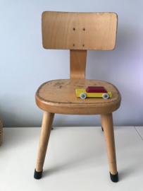 Vintage schoolstoeltje,  ronde zitting, 32 cm