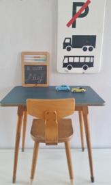 Vintage schooltafeltje, blauw blad
