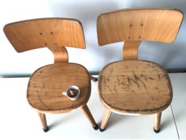 Vintage schoolstoeltjes, ronde zitting, 31,5 cm