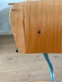 Vintage schooltafeltje en 2 stoeltjes, grijsblauw