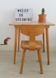 Houten schooltafeltje en stoeltje (setje)