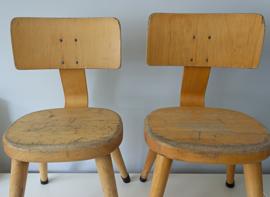 Vintage schoolstoeltje, ronde zitting