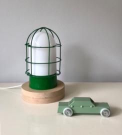 Vintage industrieel bedlampje, groen