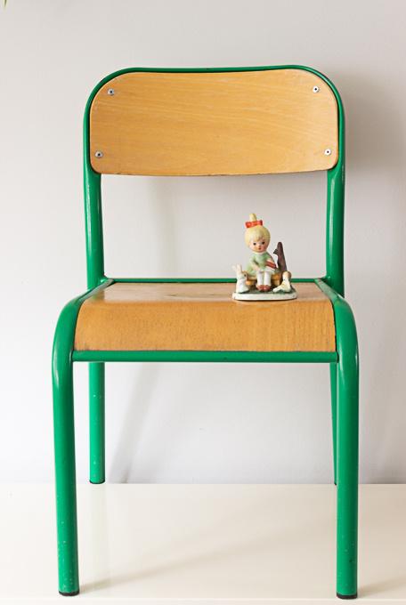 Vintage Frans schoolstoeltje, groen