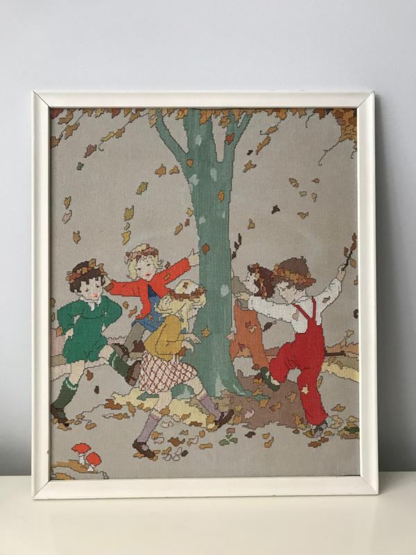 Vintage geborduurd schilderij, Rie Cramer