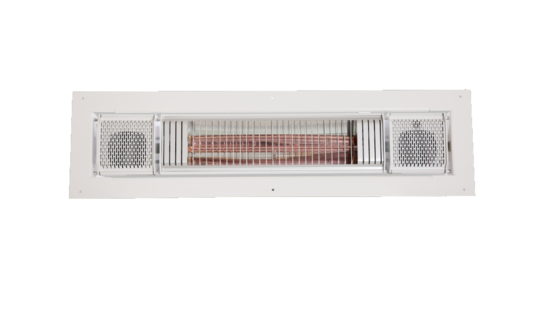 Inbouw terrasverwarmer 2000 watt, met luidsprekers via Bluetooth