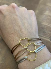 Armband zijdedraad hart