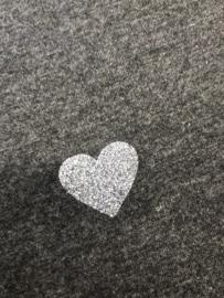 T'shirt met glitter hart antraciet grijs