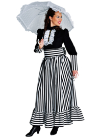 Victoriaanse dame zwart/wit