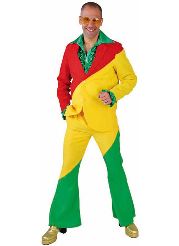 Kostuum rood/geel/groen