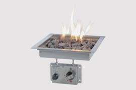Wood-Trend inbouwbrander vierkant met glas 29x29