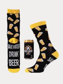 Bier Sokken - Blikje/Spaarpot - Geel