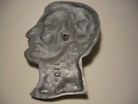 Aluminium hoofd, reliëf,  Abraham Lincoln