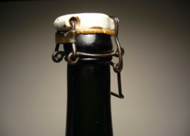 Antiek groene fles, beugel porselein, wapenschild en leeuwen