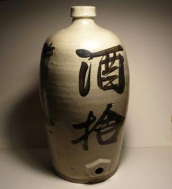 Grote, antiek Japanse sake kruik