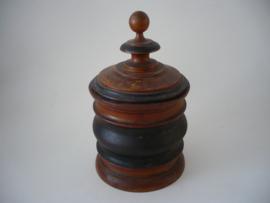 Antiek, houten tabak pot