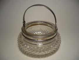 Glazen bakje, zilveren rand, zilver, gemerkt