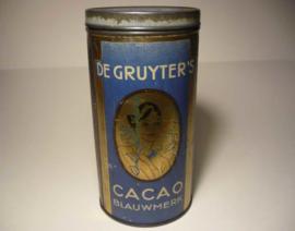Blik De Gruyter's cacao (blauwmerk)