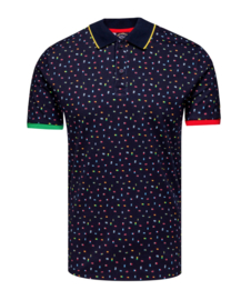 Organic cotton based Jacquard Polo with Flag pattern print