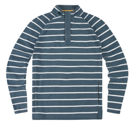 Mousqueton Marnod Petrol / Blanc - Sweater met 1/4 rits