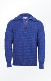 Piece of Blue pullover with high collar and Herringbone band – Dark Indigo Blue